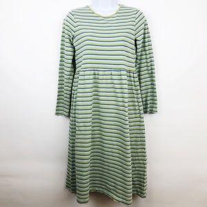 Lands End Long Sleeve Striped Modest Dress Size 16